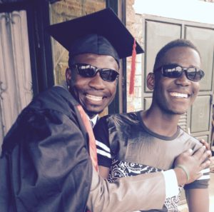Gideon, with LITA brother, Ben, celebrating Gideon's graduation from Uganda Technical College with a Diploma in Water Engineering in late 2016!