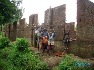 """Some of the boys celebrate outside the back wall of the dorms, while I'm told the girls have been dancing """"inside"""" their walls!"""