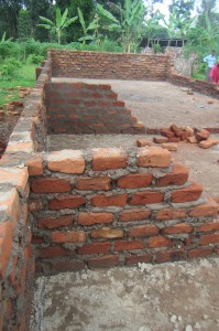 The builiding's walls start to take shape