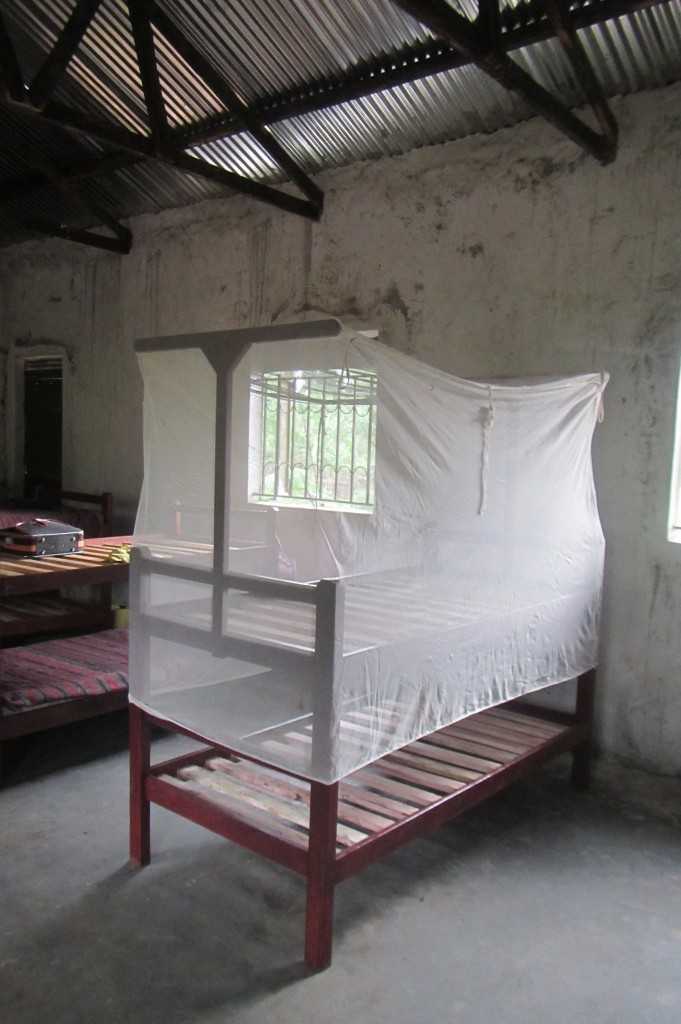 Mosquito net frames are being built right now by the local carpenter who constructed all the beds for this project and it will be soon when we receive photos from Vincent showing us how all the tope bunks now have them.. nets for the lower bed being tied to the frame by the upper mattress...