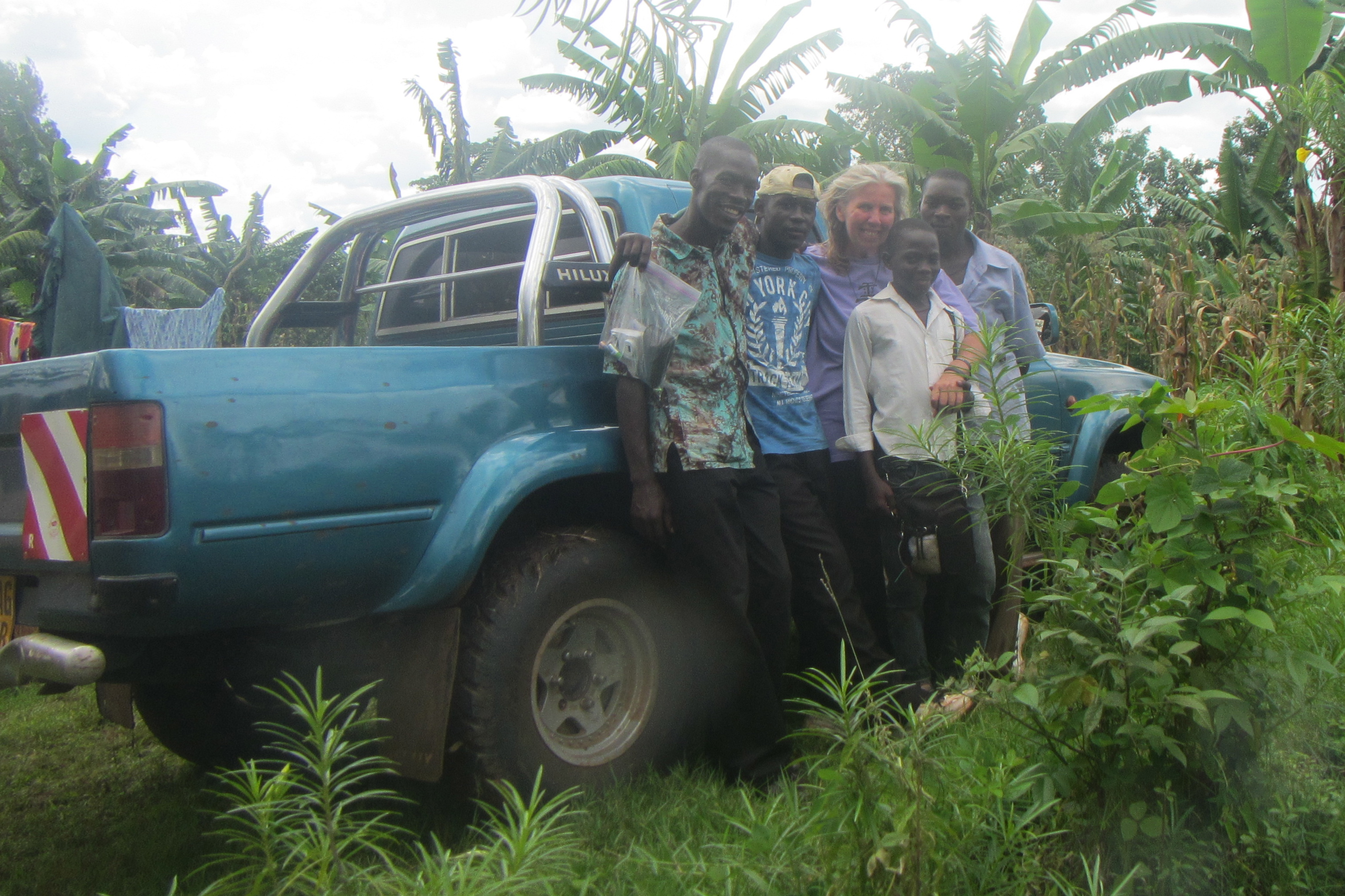 With Bonny Mark, our Uganda Rep, Ben, Samson and Silver on our first drive to the site in Buyobo..